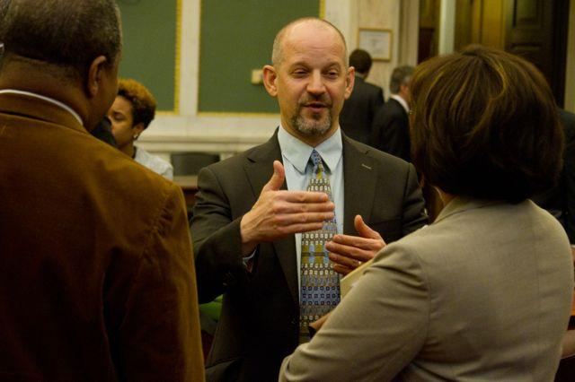 Photo of Steve Masters on floor of Philadelphia City Council by MIchael Koehler.