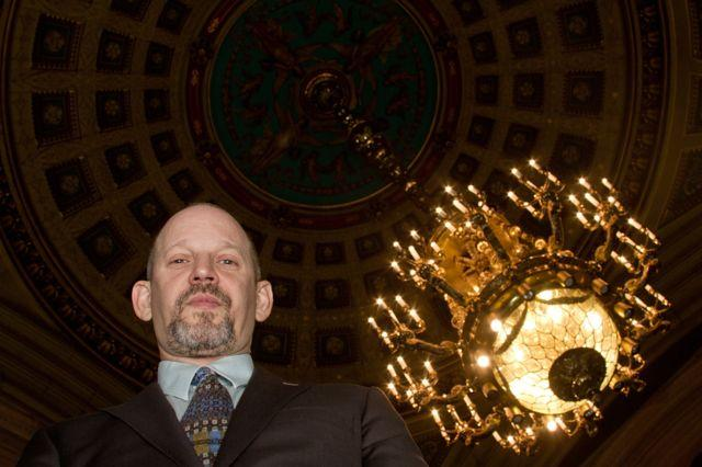 Photo of Steve Masters in City Council Caucus Room by Michael Koehler.
